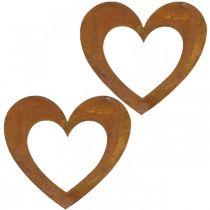 Hjärta rost dekoration hjärta trädgård metall 15cm 6st