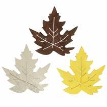 Spridd lönn lämnar gul, brun, platina Blandade 4 cm 72 st