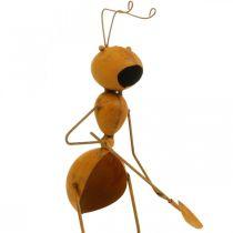 Trädgårdsdekorationer, myrmetallknoppar, rostfria stålknoppar, myra med spade