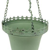 Blommakorg av metallgrön Ø21cm H30cm