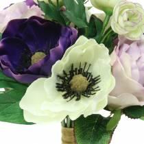 Bukett med anemoner och rosor violetta, kräm 30cm