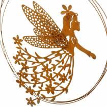 Hängsmycke för blomälva, vårdekoration, dekorring med älva, patina Ø17cm 3st