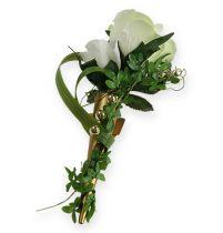 Bröllopsnål med magnet, mattguld 7cm