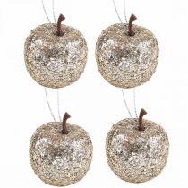 Deco mini apple glitter champagne träd dekorationer Ø3,5cm 24st