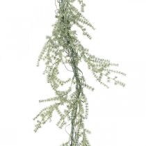 Konstgjord sparrisgarland vit, grå dekorationshängare 170cm