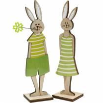 Påskharen stativ grön kanin trä påskdekoration 4st