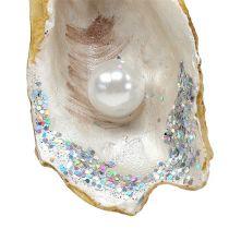 Hängande ostron med pärla och glimmer 8,5 cm