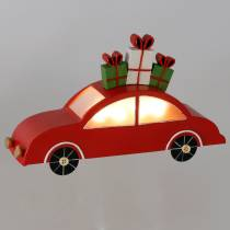 Julbil med LED röd metall 25cm H14,5cm för batteri.