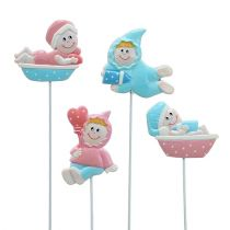 Baby dekoration plugg rosa, blå 5cm L25cm 4st