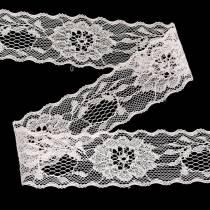 Spetsband med blommor med vågkantrosa 40mm 20m