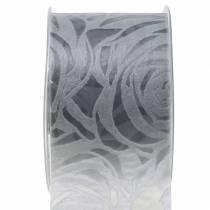 Dekorativa bandrosor bredgrå 63mm 20m