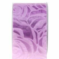 Dekorativa band rosor bred lila 63mm 20m