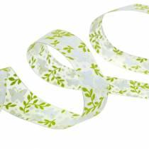 Dekorativt band med fjärilar 25mm grönt organzaband presentband 20m