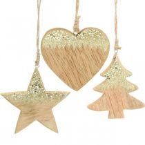 Juldekoration stjärna / hjärta / träd, trähäng, adventsdekoration H10 / 12,5cm 3st