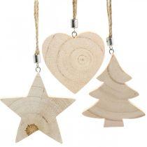 Dekorativ hängande stjärna / hjärta / julgran, trädekoration, advent H9.5 / 8 / 10cm 6st