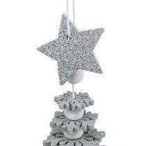 Träd att hänga med klocka silver 29cm