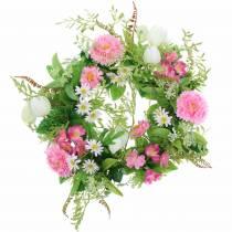 Bellis krans / checkerboard blomma rosa, vit Ø30cm