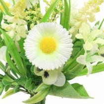 Vårbukett med Bellis och Hyacinth konstgjord vit, gul 25cm