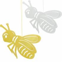 Träfigur bi, vårdekoration, honungsbin att hänga på, dekorativ insekt 6st