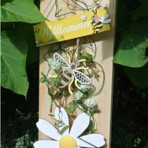Dekoration för att hänga bin gul, vit, gyllene trä sommardekoration 6st