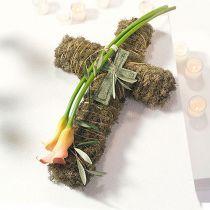Blommig skumkors liten grön 42cm 4st begravningsblommor