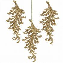 Trädhänge med glitter, dekorativa fjädrar att hänga, juldekoration Gyllene L16cm 6st
