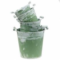 Burk hink grön vit tvättad Ø13-22cm