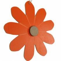 Blommahängen, dekorativa blommor orange och vita, trädekoration, sommar, dekorativa blommor 8st