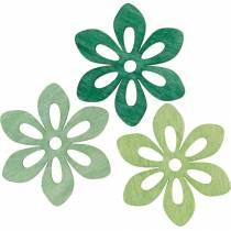 Scatter blommor gröna, vår dekoration, trä blommor för spridning, bordsdekoration 72st