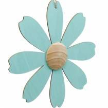 Träblommor att hänga, vårdekoration, träblomma rosa och blå, sommar, dekorativa blommor 4st