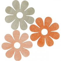 Blommor att strö orange, aprikos, brunt strö deco trä 72st