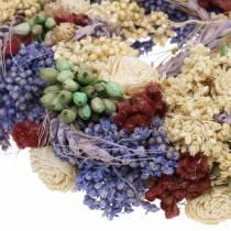 Dekorativ krans av torrt gräs och konstgjorda blommor lila Ø20cm