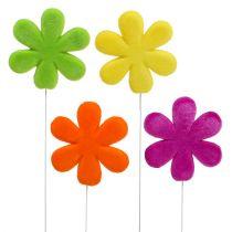 Blommor studs färgglada flockade Ø8,5cm 8st