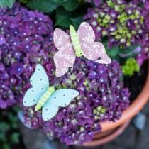 Blomma stift fjäril trä 18cm 12st
