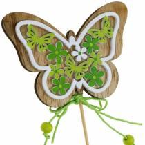 Flower plug fjäril trä fjäder dekoration på stång 12st