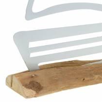 Stövel på träbasmetall vit 25cm H24.5cm