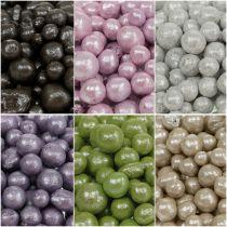 Lysande dekorativa pärlor 4mm - 8mm färgade 1l