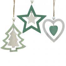 Julgransdekorationer blandar grönt, vitt 10cm 9st