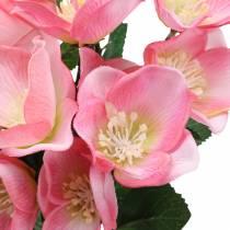 Bukett med julrosor rosa 29cm 4st