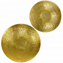 Gyllene dekorativ skål metall Ø35 / 46cm, uppsättning 2