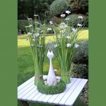 Massa gräs med vita blommor 70 cm