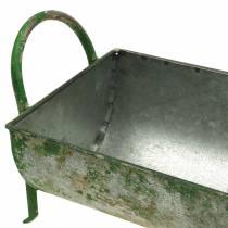 Dekorativt zink för plantering med handtag grå, grön 60/43 cm uppsättning av 2