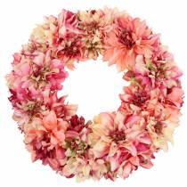Dahlia blomma krans rosa, kräm Ø42cm