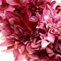 Dahlia blomma krans dimma rosa, malva Ø42cm