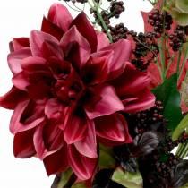 Konstgjord bukett med dahlia och bär lila 45cm