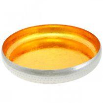 Dekorativ skål metall rund Guld- och silverbricka Ø36,5cm