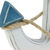 Dekor ankarved för att täcka bordsdekoration marinblå, vit H24cm