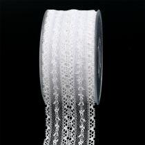 Dekorativt spetsband 55mm 20m vit
