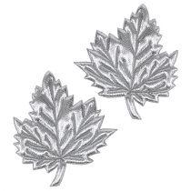 Dekorativa blad av silke 5cm silver 60p