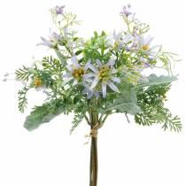 Dekorativ bukett, lila sidenblommor, vårdekorationer, konstgjorda asters, nejlikor och eukalyptus